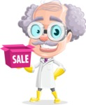 Professor Cartoon Character АКА Earl Crazy-Curls - With Sale Boxes