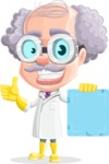 Professor Cartoon Character АКА Earl Crazy-Curls - Holding a Futuristic Blank Sign