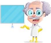 Professor Cartoon Character АКА Earl Crazy-Curls - With a Blank Futuristic Screen for Presentations