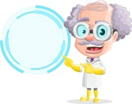Professor Cartoon Character АКА Earl Crazy-Curls - With Futuristic Blank Circle Sign Template