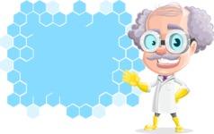 Professor Cartoon Character АКА Earl Crazy-Curls - With a Futuristic Presentation Board