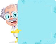 Professor Cartoon Character АКА Earl Crazy-Curls - Pointing a Blank Presentation Board