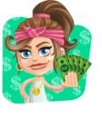 Little Female Gangster Kid Cartoon Vector Character AKA BabyB - Shape 3