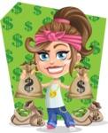 Little Female Gangster Kid Cartoon Vector Character AKA BabyB - Shape 5