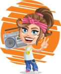 Little Female Gangster Kid Cartoon Vector Character AKA BabyB - Shape 8
