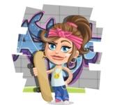 Little Female Gangster Kid Cartoon Vector Character AKA BabyB - Shape 9