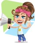 Little Female Gangster Kid Cartoon Vector Character AKA BabyB - Shape 10