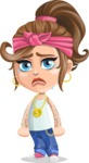 Little Female Gangster Kid Cartoon Vector Character AKA BabyB - Sad