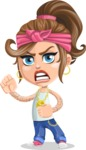Little Female Gangster Kid Cartoon Vector Character AKA BabyB - Angry