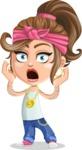 Little Female Gangster Kid Cartoon Vector Character AKA BabyB - Shocked