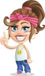 Little Female Gangster Kid Cartoon Vector Character AKA BabyB - Attention