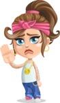 Little Female Gangster Kid Cartoon Vector Character AKA BabyB - GoodBye