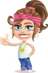 Little Female Gangster Kid Cartoon Vector Character AKA BabyB - Thumbs Up