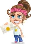 Little Female Gangster Kid Cartoon Vector Character AKA BabyB - Letter
