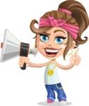 Little Female Gangster Kid Cartoon Vector Character AKA BabyB - Loudspeaker