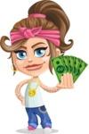 Little Female Gangster Kid Cartoon Vector Character AKA BabyB - Show me the money