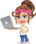 Little Female Gangster Kid Cartoon Vector Character AKA BabyB - Laptop 1