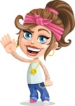 Little Female Gangster Kid Cartoon Vector Character AKA BabyB - Wave