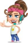 Little Female Gangster Kid Cartoon Vector Character AKA BabyB - Support 1