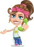 Little Female Gangster Kid Cartoon Vector Character AKA BabyB - Support 2