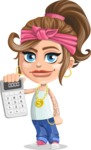 Little Female Gangster Kid Cartoon Vector Character AKA BabyB - Calculator