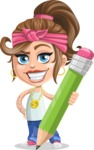 Little Female Gangster Kid Cartoon Vector Character AKA BabyB - Pencil