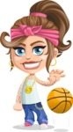 Little Female Gangster Kid Cartoon Vector Character AKA BabyB - Basketball
