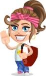 Little Female Gangster Kid Cartoon Vector Character AKA BabyB - Travel