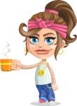 Little Female Gangster Kid Cartoon Vector Character AKA BabyB - Coffee