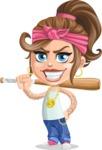 Little Female Gangster Kid Cartoon Vector Character AKA BabyB - Bat 1
