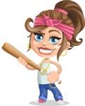 Little Female Gangster Kid Cartoon Vector Character AKA BabyB - Bat 2