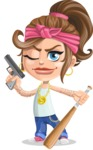 Little Female Gangster Kid Cartoon Vector Character AKA BabyB - Gun and Bat
