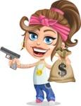 Little Female Gangster Kid Cartoon Vector Character AKA BabyB - Gun and money