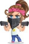 Little Female Gangster Kid Cartoon Vector Character AKA BabyB - Pistols