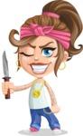 Little Female Gangster Kid Cartoon Vector Character AKA BabyB - Knife 2