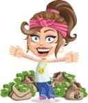 Little Female Gangster Kid Cartoon Vector Character AKA BabyB - Stacks of money