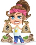 Little Female Gangster Kid Cartoon Vector Character AKA BabyB - Bags of money