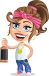 Little Female Gangster Kid Cartoon Vector Character AKA BabyB - Drink