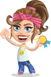 Little Female Gangster Kid Cartoon Vector Character AKA BabyB - Ribbon