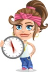 Little Female Gangster Kid Cartoon Vector Character AKA BabyB - Time
