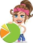 Little Female Gangster Kid Cartoon Vector Character AKA BabyB - Chart