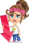 Little Female Gangster Kid Cartoon Vector Character AKA BabyB - Arrow 3