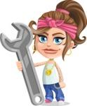 Little Female Gangster Kid Cartoon Vector Character AKA BabyB - Repair