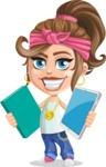 Little Female Gangster Kid Cartoon Vector Character AKA BabyB - Book or Tablet