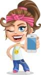 Little Female Gangster Kid Cartoon Vector Character AKA BabyB - IPhone