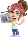 Little Female Gangster Kid Cartoon Vector Character AKA BabyB - Music 2