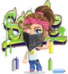 Little Female Gangster Kid Cartoon Vector Character AKA BabyB - Graffiti