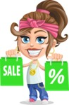 Little Female Gangster Kid Cartoon Vector Character AKA BabyB - Sale 1