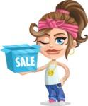 Little Female Gangster Kid Cartoon Vector Character AKA BabyB - Sale 2