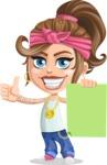 Little Female Gangster Kid Cartoon Vector Character AKA BabyB - Sign 2